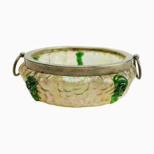Art Nouveau Silver Topped Bowl by Kralik Glassworks