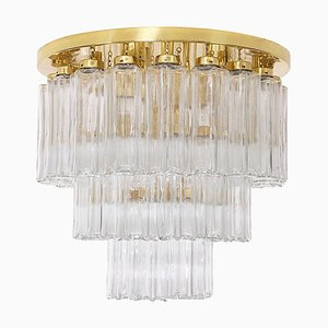 Brass and Glass Flush Mount Chandelier from Limburg Glashütte, 1970s