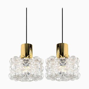 Bubble Glass Pendant Lamps by Helena Tynell, 1969, Set of 2