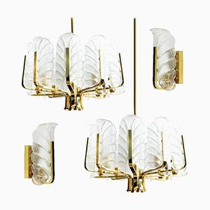 Swedish Brass Leaf Light Fixtures by Carl Fagerlund, 1960s, Set of 4