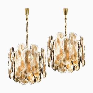 Large Austrian Citrus Swirl Smoked Glass Chandeliers by Kalmar Lighting, 1969, Set of 2
