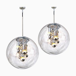 Large Hand Blown Bubble Glass Pendant Lights by Doria Leuchten Germany, 1970s, Set of 2