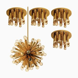 Gilt Brass Set with Swarovski Balls by Ernst Palme for Palwa, 1960s, Set of 5