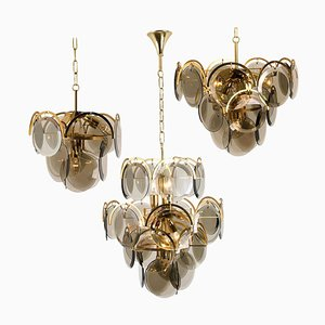 Italian Smoked Glass and Brass Chandeliers in the Style of Vistosi, 1970s, Set of 3