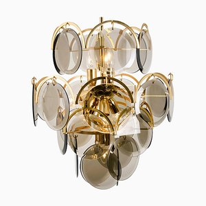 Italian Smoked Glass and Brass Chandelier in the Style of Vistosi, 1970s