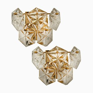 Gilt Brass Metal Faceted Crystal Glass Sconces by Kinkeldey, 1960s, Set of 2