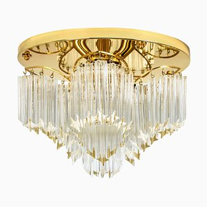 Italian Triedri Crystal Gold-Plated Flush Mount by Venini, 1970s