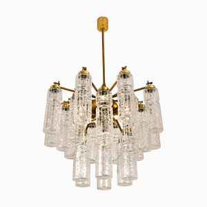 Textured Glass and Brass Chandelier by Doria Leuchten Germany, 1960s