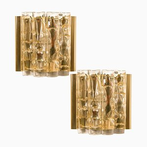Brass & Glass Wall Lights by Doria Leuchten Germany, 1960s, Set of 2