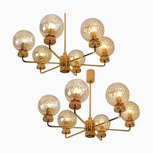 Large Italian Gold-Plated Brown Glass Chandeliers in the Style of Brotto, 1970s, Set of 2