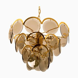 Italian Large Smoked Glass and Brass Chandelier in the Style of Vistosi, 1970s