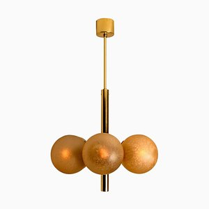 Molecular Chandelier with Six Smoked Hand-Blown Glass Globes by Kaiser Leuchten, 1960s