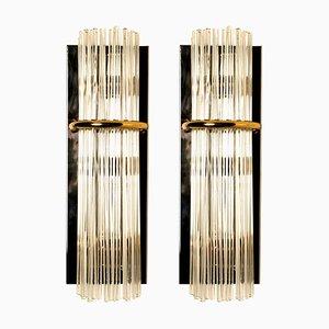 Moderne Glasstab Wandlampen von Gaetano Sciolari für Lightolier, 1960er, 2er Set