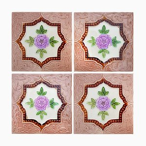 Glazed Art Deco Relief Tiles, 1930s, Set of 25