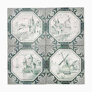 Keramikfliesen von Gilliot, 1930er, 4er Set