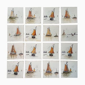 French Hand-Painted Tiles by Helman, 1930s, Set of 19