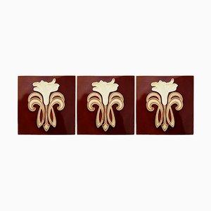 Art Deco Keramikfliesen von Gilliot Te Hemiksem, 1920er, 16er Set