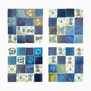 Art Deco Glazed Relief Tiles, 1930s, Set of 16