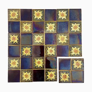 Art Deco Glazed Relief Tiles by S.A. Des Pavillions, 1930s, Set of 9