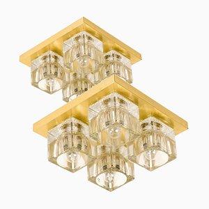 Deutsche Wandlampen aus Messing & Glas von Peill & Putzler, 1960er, 2er Set
