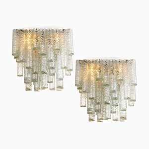Hand Blown Square Flushmount Chandeliers from Doria, 1969, Set of 2