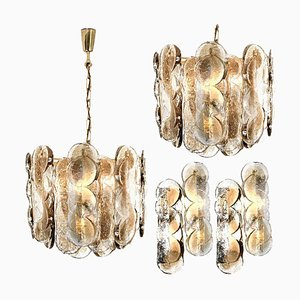 Austrian Citrus Swirl Smoked Glass Light Fixture Chandeliers by Kalmar Lighting, 1969, Set of 4