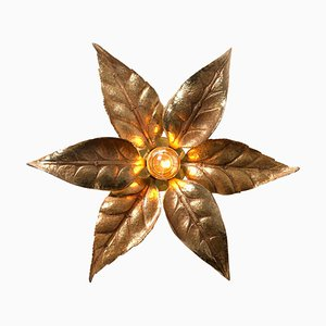 Large Brass Flower Wall Light in the Style of Willy Daro, 1960s