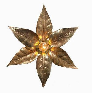 Brass Double Flower Wall Light in the Style of Willy Daro, 1970s