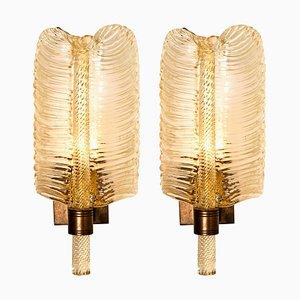 Italienische Goldfarbene Murano Glas Wandlampen von Barovier & Toso, 1960er, 2er Set