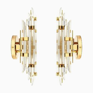 Italian Murano Glass and Gold-Plated Sconces in the Style of Venini, 1970s, Set of 2