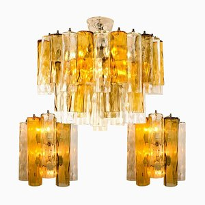Large Wall Light & Chandelier by Barovier & Toso, 1969, Set of 3