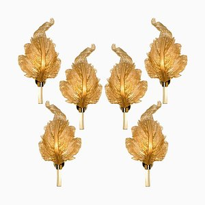 Large Italian Gold Glass Murano Sconce by Barovier & Toso, 1960s
