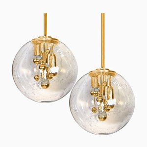 Space Age Brass and Blown Glass Chandeliers by Doria Leuchten Germany, Set of 2