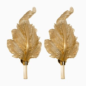 Large Italian Gold Murano Glass Sconces by Barovier&Toso, 1960s, Set of 2