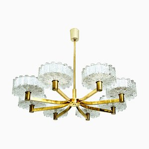 Icicle Glass and Brass Chandelier in the Style of Kalmar, 1960s