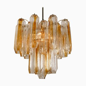 Clear and Orange Amber Angled Glass Tubes Chandelier by J.T. Kalmar, 1970s