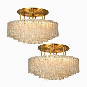 Große Deckenlampen aus Geblasenem Glas und Messing von Doria Leuchten Germany, 1960er, 2er Set