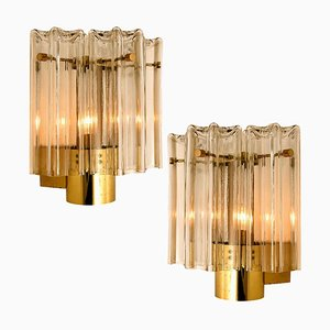 Clear Glass and Brass Sconces by J.T. Kalmar, 1960s, Set of 2