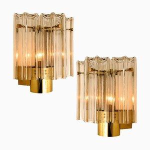 Klarglas & Messing Wandlampen von JT Kalmar, 1960er, 2er Set