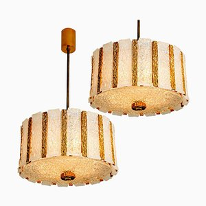 Gold Plated Bronze Drum Ceiling Lamps from J.T. Kalmar, 1960s, Set of 2