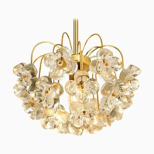 Glass and Brass Chandelier by Sische, 1960s