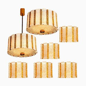 Gold Plated Bronze Drum Chandeliers from J.T. Kalmar , 1960s, Set of 7