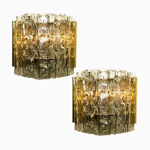 Mid-Century Brass and Glass Sconces by Doria Leuchten Germany, 1970s, Set of 2