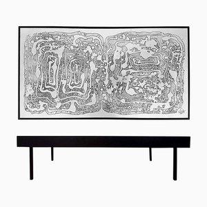 Table d'Appoint Vintage en Acide Gravé par Bernhard Rohne, 1960s
