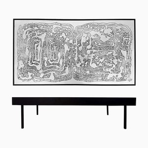 Vintage Beistelltisch aus geätztem Aluminium von Bernhard Rohne, 1960er