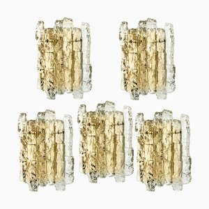 Ice Glass and Brass Sconce by J.T. Kalmar, 1960s