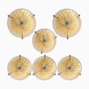 Glass and Brass Flush Mount Ceiling Lamp by Hillebrand, 1960s