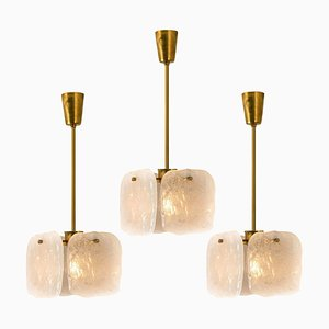 Ice Glass Pendant Light by J.T. Kalmar, 1960s