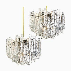 Large Modern Three-Tiered Brass Ice Glass Chandeliers by J.T. Kalmar, 1960s, Set of 2