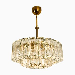 Glass & Brass Chandelier by J.T. Kalmar, 1960s